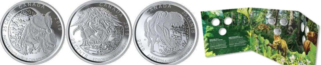 Lieferumfang:Kanada : 75 Cent 3x25 Ct 2019 Canadas Dinosaurier - 3er Set im 3D-Blister  2019 Stgl.