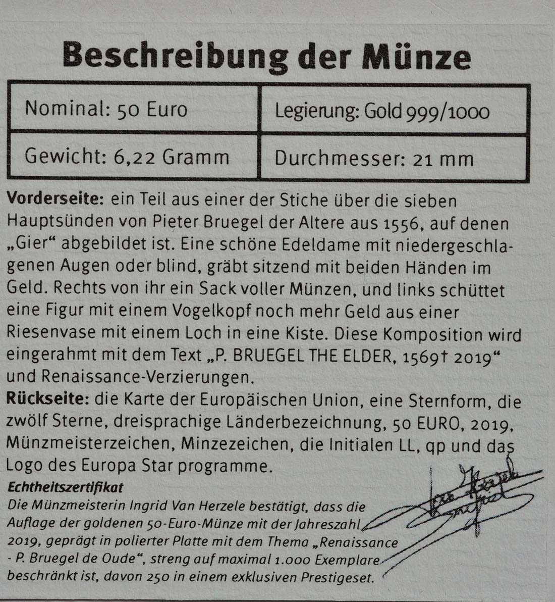 Zertifikat:Belgien : 50 Euro Renaissance Brügel  2019 PP