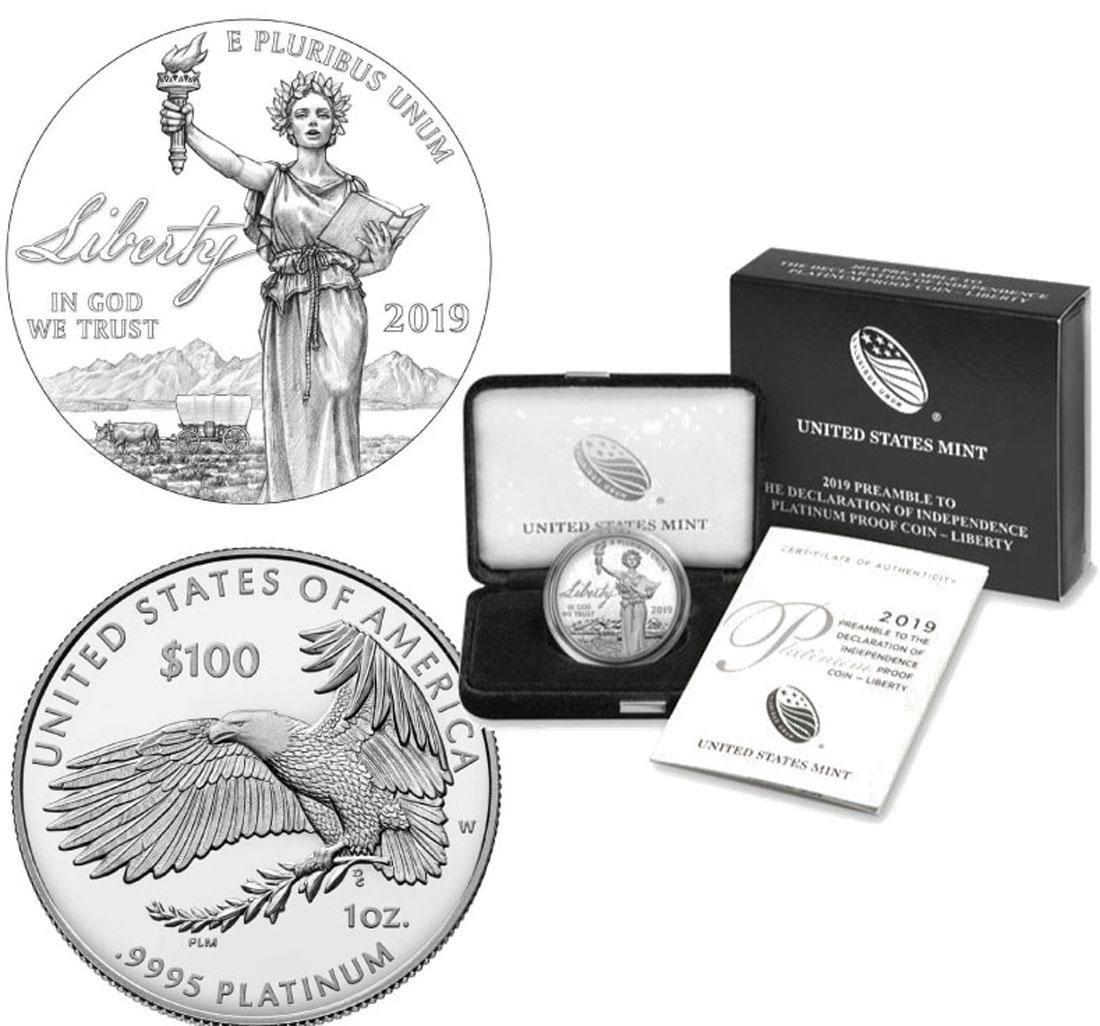 Lieferumfang:USA : 100 Dollar Platin Eagle - Unabhängigkeitserklärung  2019 PP