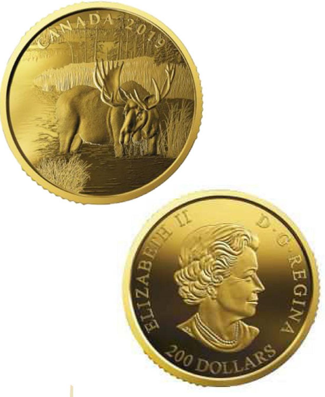 Lieferumfang:Kanada : 200 Dollar Kanadischer Elch 999,99er Gold  2019 PP