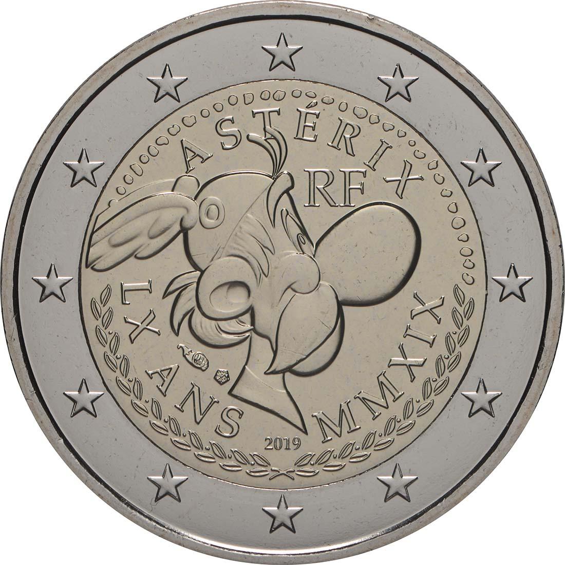 Rückseite:Frankreich : 2 Euro Asterix und Obelix  2019 Stgl.