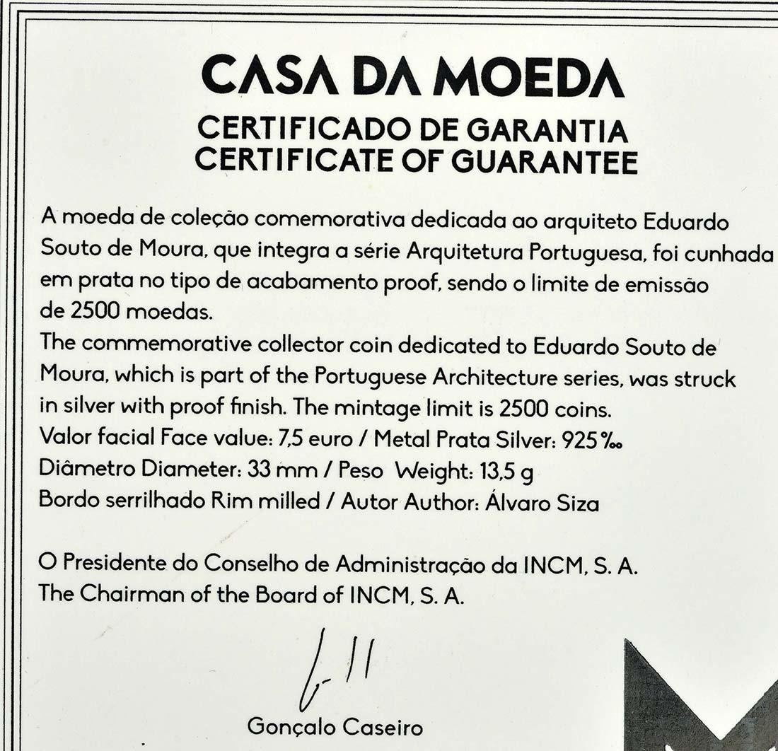 Zertifikat:Portugal : 7,5 Euro Souto Moura  2018 PP