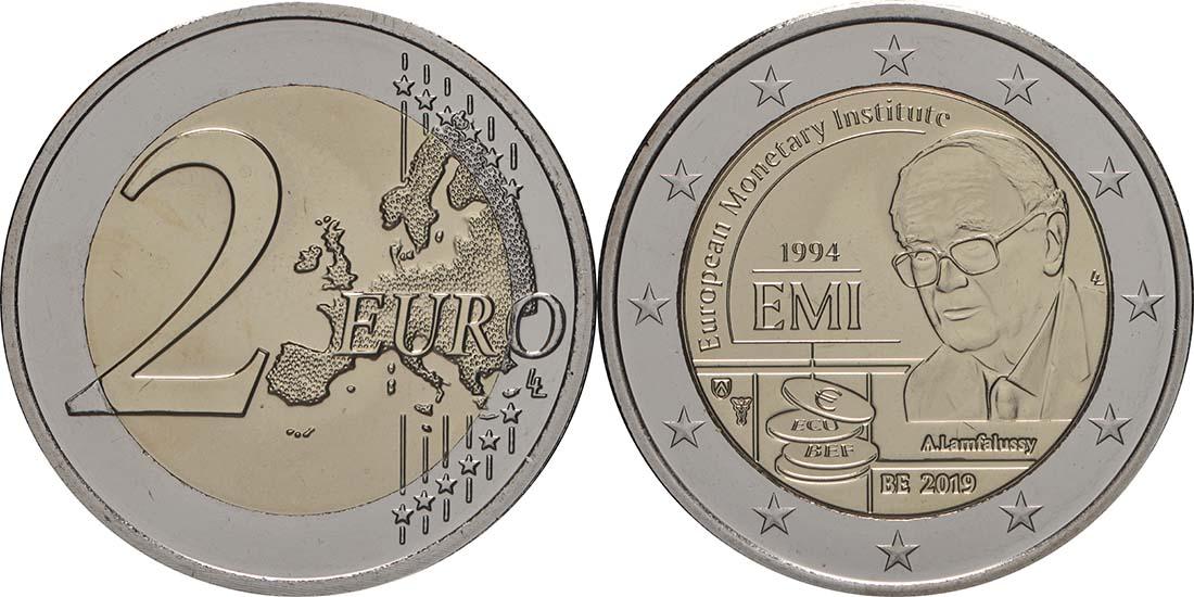 Lieferumfang:Belgien : 2 Euro 25-jähriges Bestehen des Europäischen Währungsinstituts (EWI)  2019 bfr