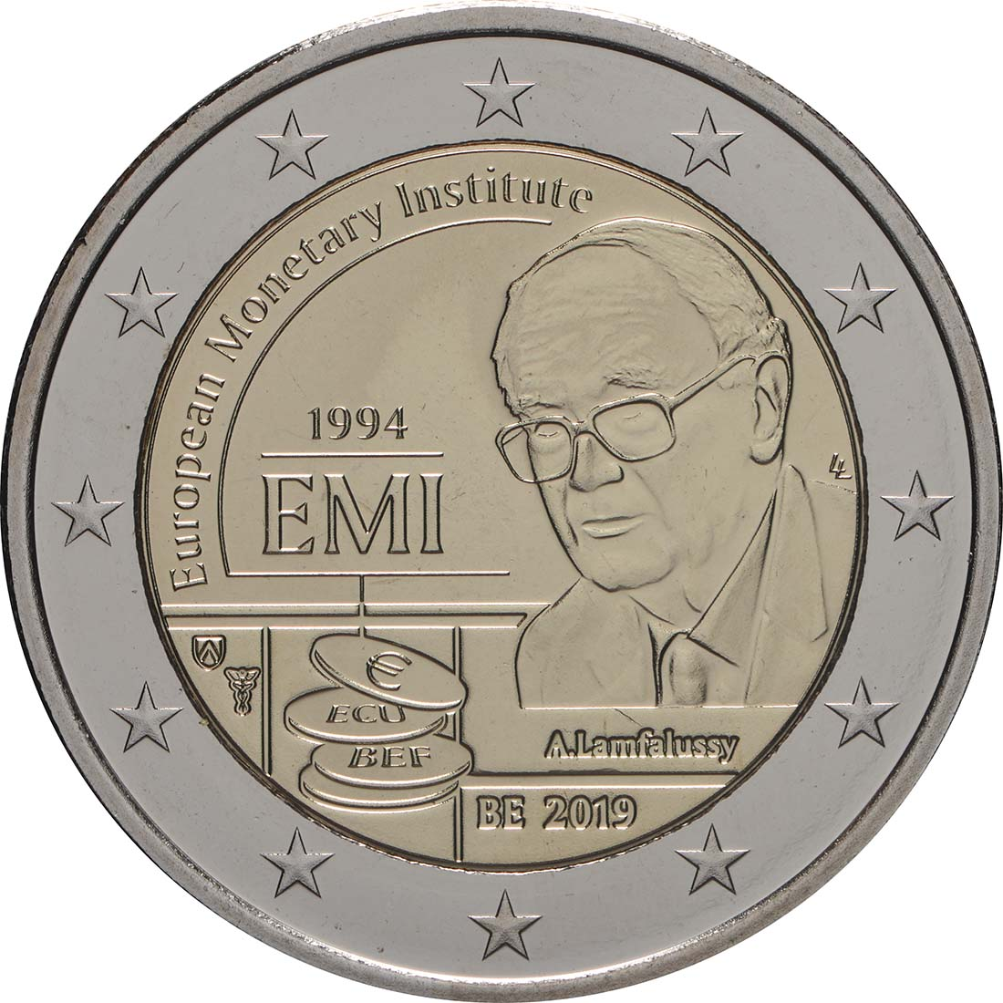 Rückseite:Belgien : 2 Euro 25-jähriges Bestehen des Europäischen Währungsinstituts (EWI)  2019 Stgl.