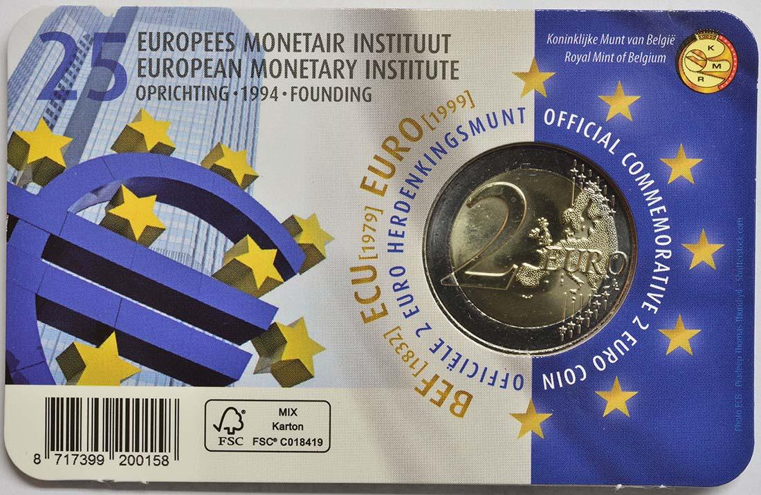 Zertifikat:Belgien : 2 Euro 25-jähriges Bestehen des Europäischen Währungsinstituts (EWI)  2019 Stgl.