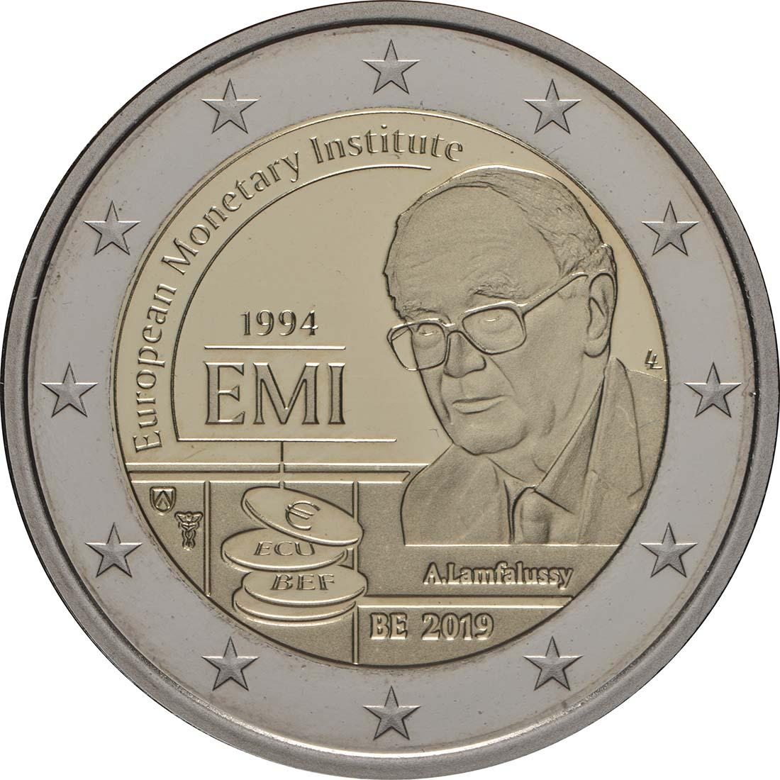 Rückseite:Belgien : 2 Euro 25-jähriges Bestehen des Europäischen Währungsinstituts (EWI)  2019 PP