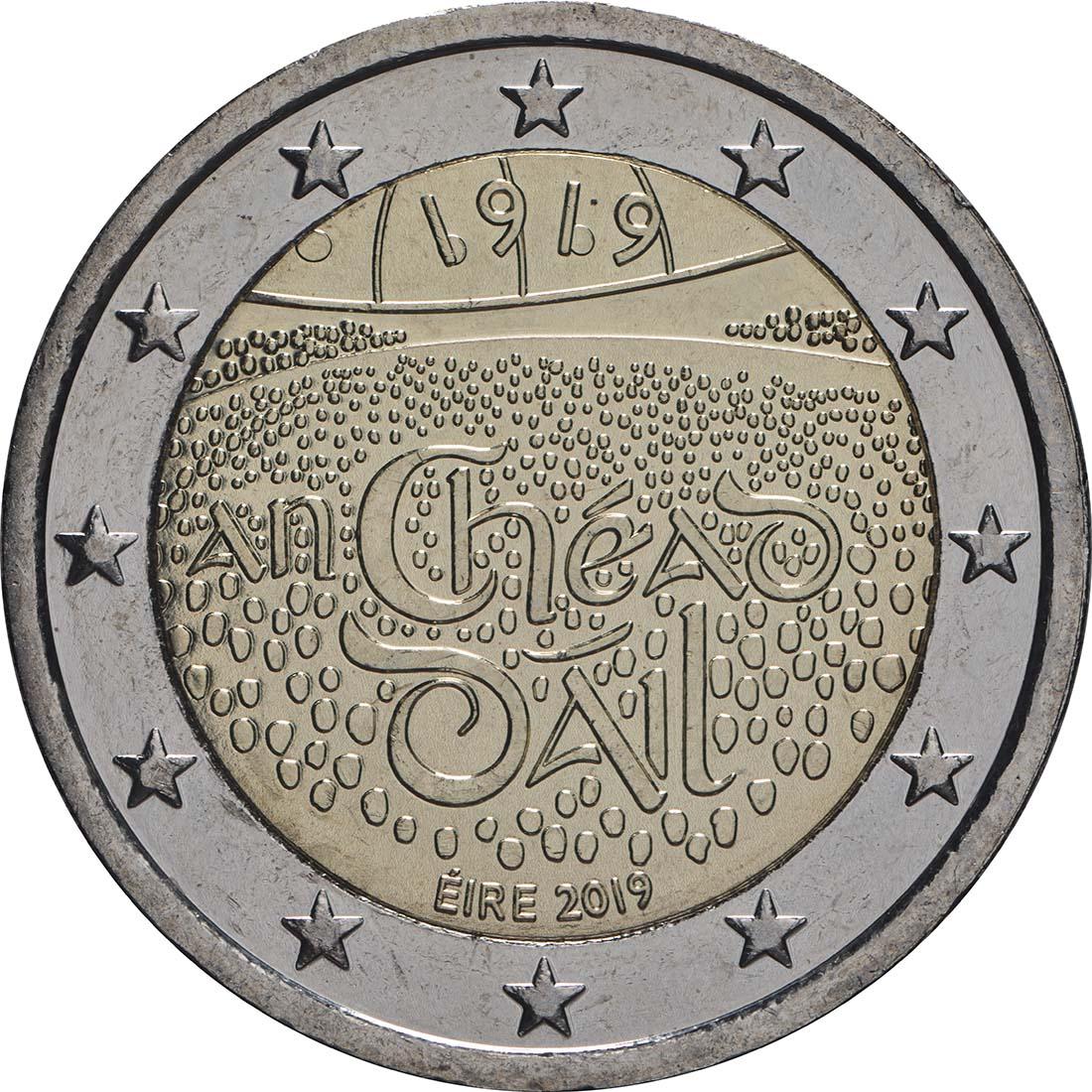 Rückseite:Irland : 2 Euro 100 Jahre Dail Éireann (irisches Parlament)  2019 bfr