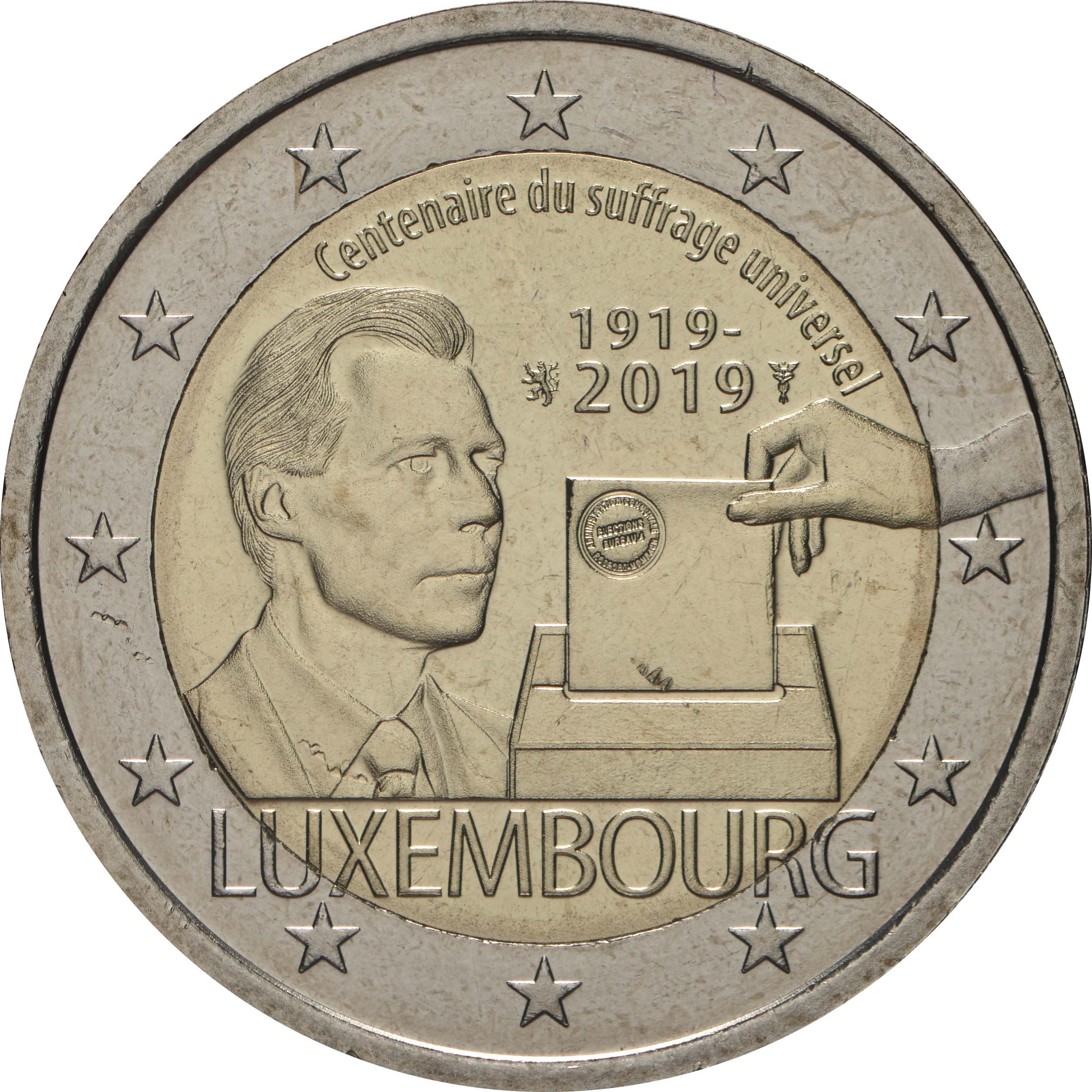 Rückseite:Luxemburg : 2 Euro 100 Jahre allgemeines Wahlrecht in Luxemburg  2019 bfr