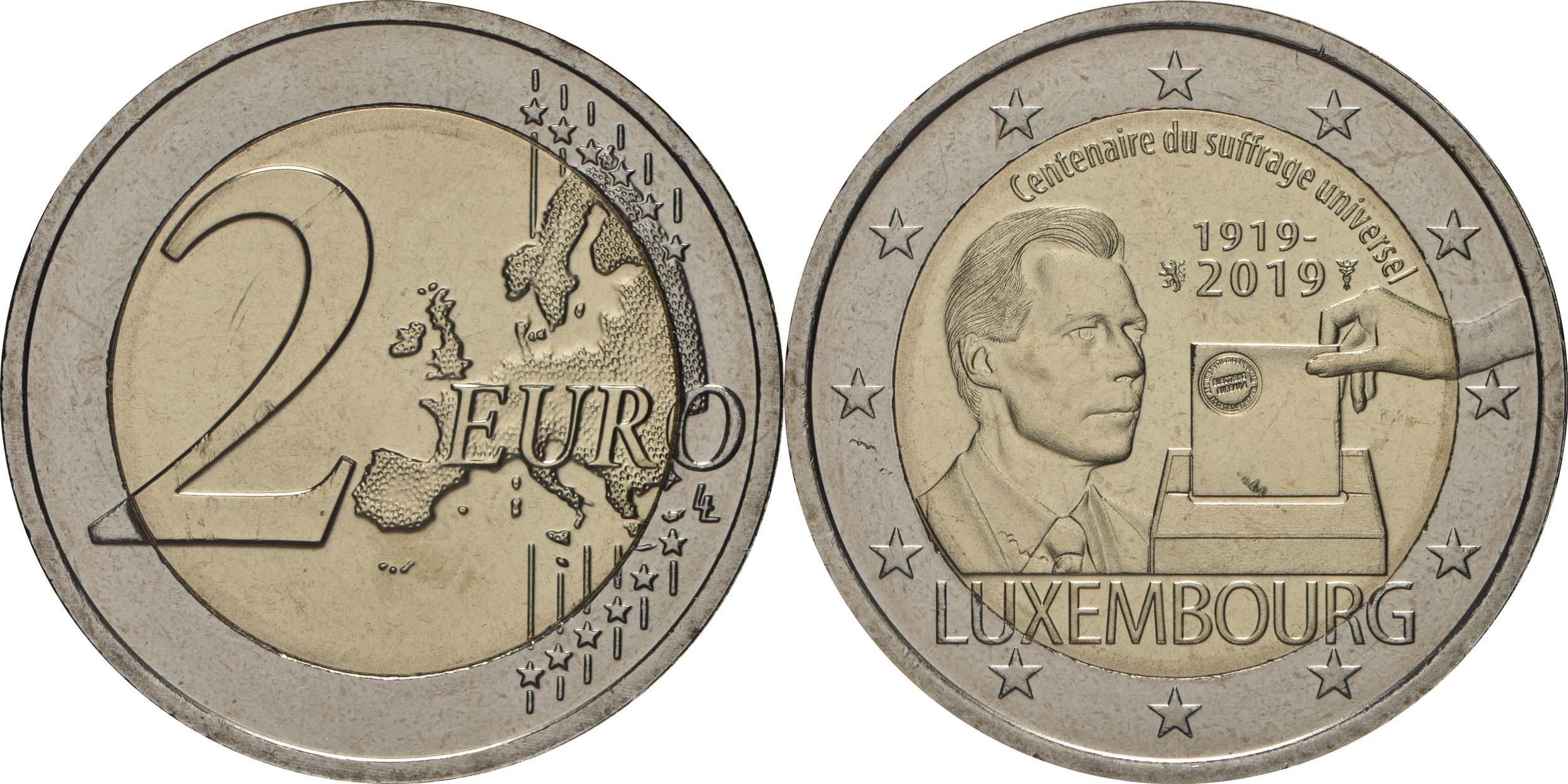 Lieferumfang:Luxemburg : 2 Euro 100 Jahre allgemeines Wahlrecht in Luxemburg  2019 bfr