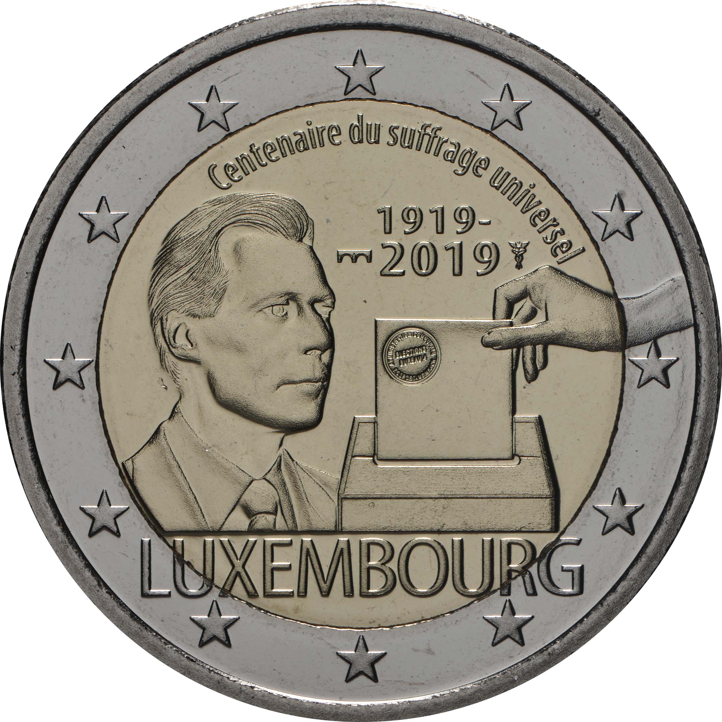 Rückseite:Luxemburg : 2 Euro 100 Jahre allgemeines Wahlrecht in Luxemburg  2019 Stgl.
