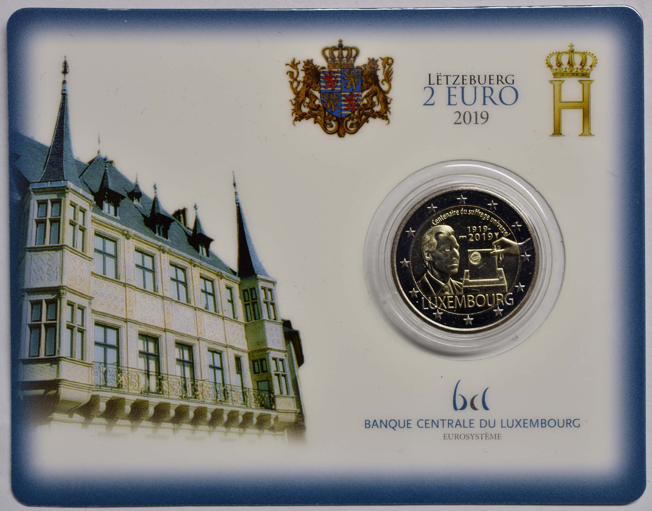 Lieferumfang:Luxemburg : 2 Euro 100 Jahre allgemeines Wahlrecht in Luxemburg  2019 Stgl.