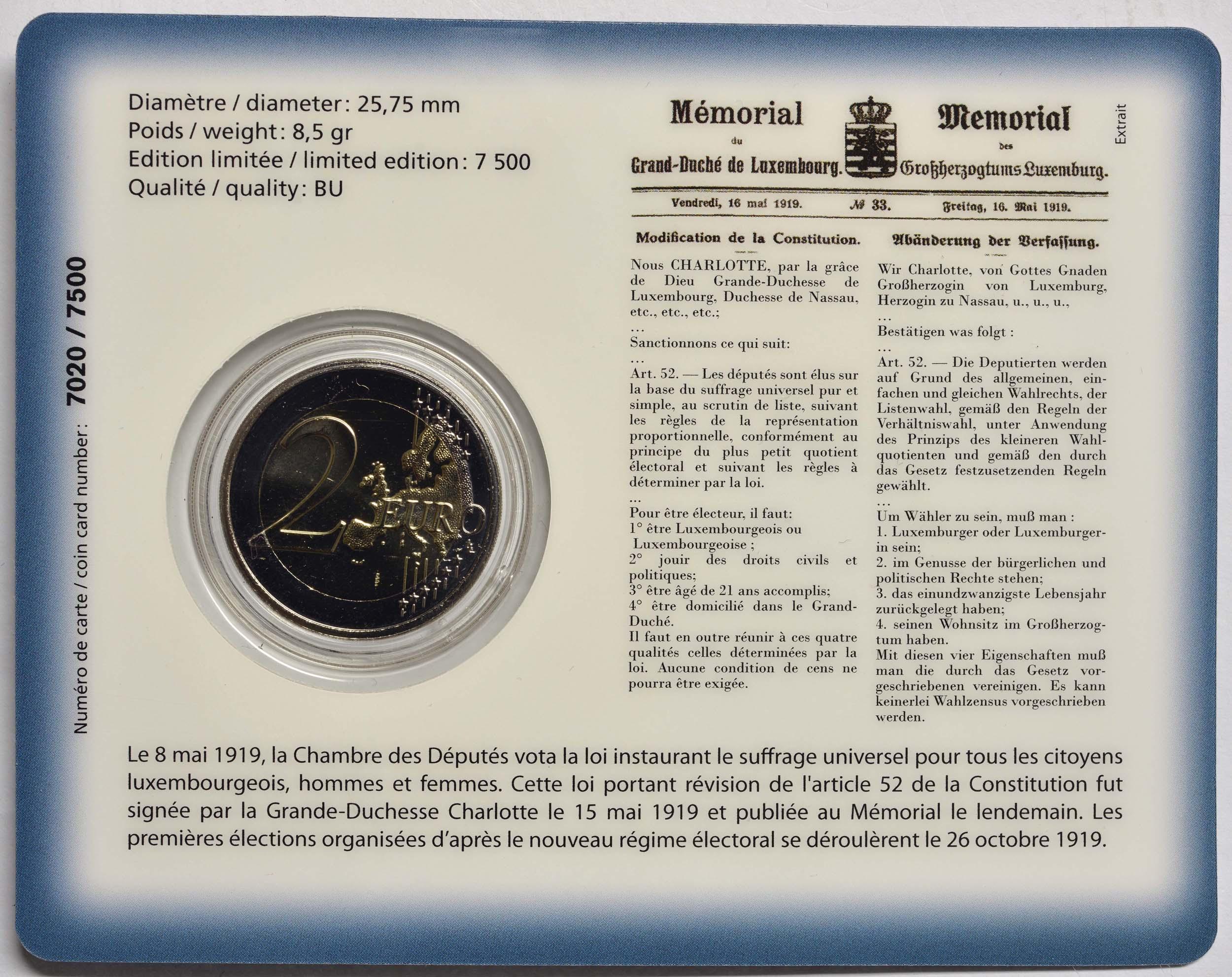 Zertifikat:Luxemburg : 2 Euro 100 Jahre allgemeines Wahlrecht in Luxemburg  2019 Stgl.