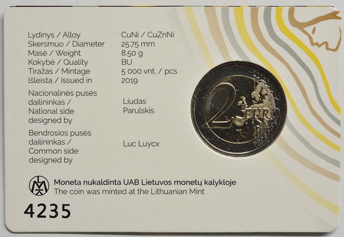 Zertifikat:Litauen : 2 Euro Sutartines - Litauische Volkslieder  2019 Stgl.
