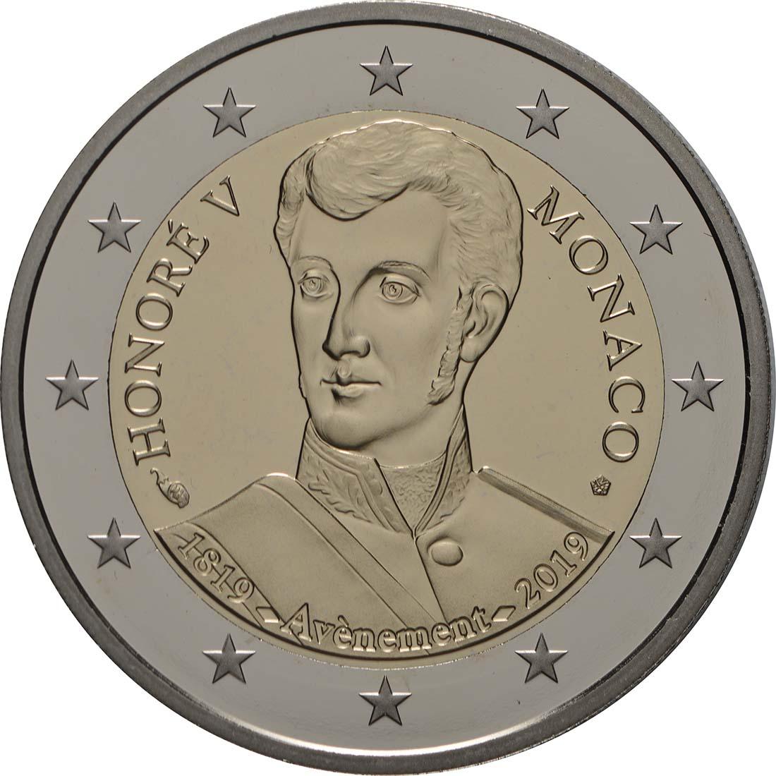 Rückseite:Monaco : 2 Euro 200. Jahrestag der Thronbesteigung von Fürst Honoré V.  2019 PP