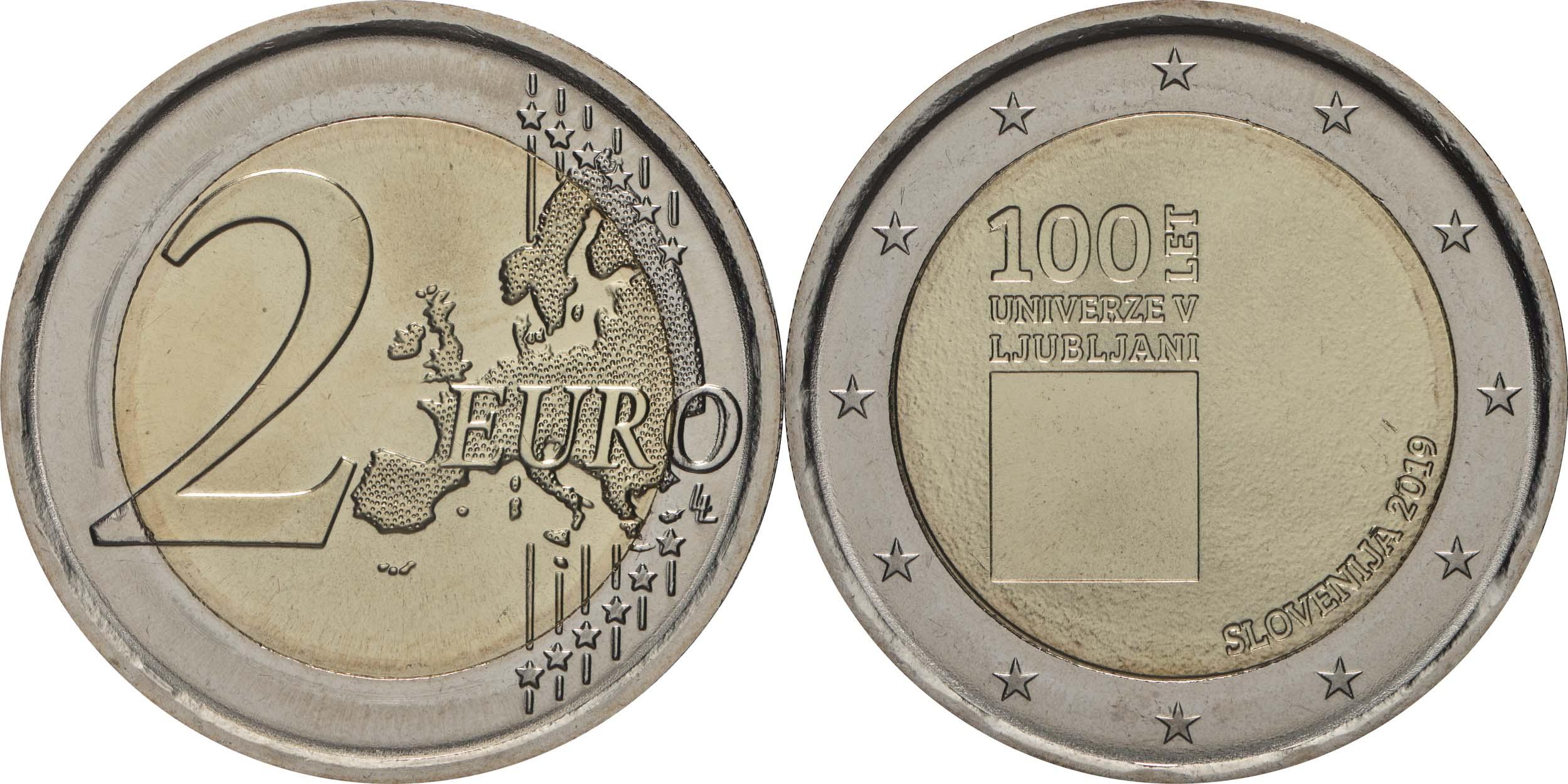 Lieferumfang:Slowenien : 2 Euro 100. Jahrestag der Gründung der Universität Ljubljana  2019 bfr