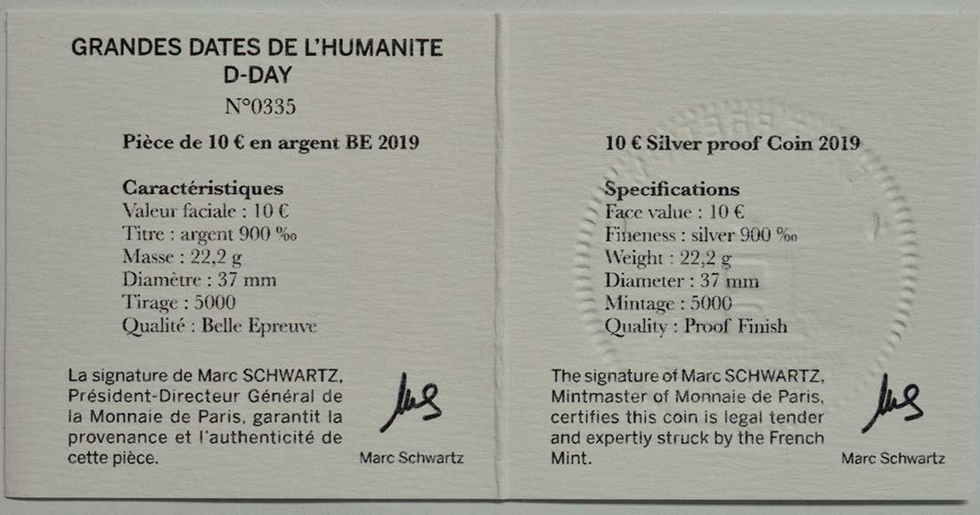 Zertifikat:Frankreich : 10 Euro Land, See, und Luftoperationen  2019 PP