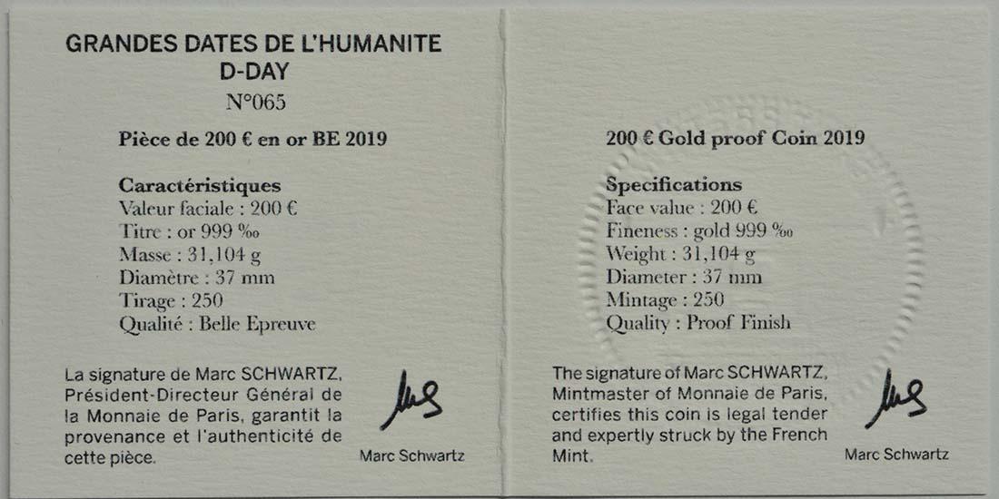 Zertifikat:Frankreich : 200 Euro Land, See, und Luftoperationen  2019 PP