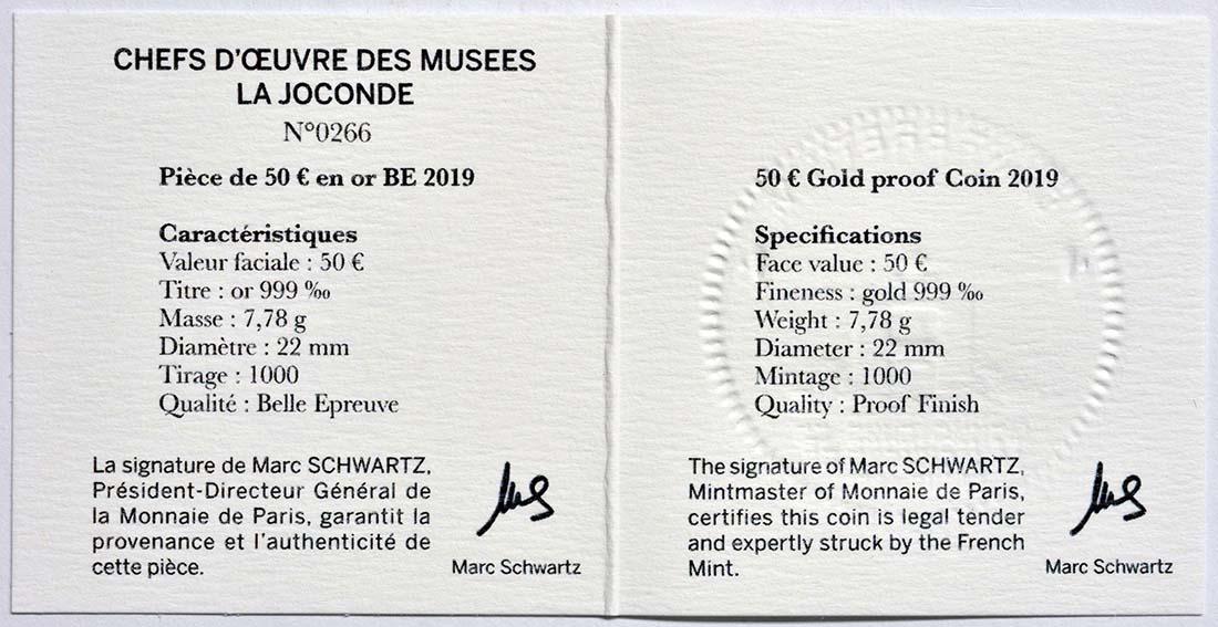 Zertifikat:Frankreich : 50 Euro Mona Lisa  2019 PP