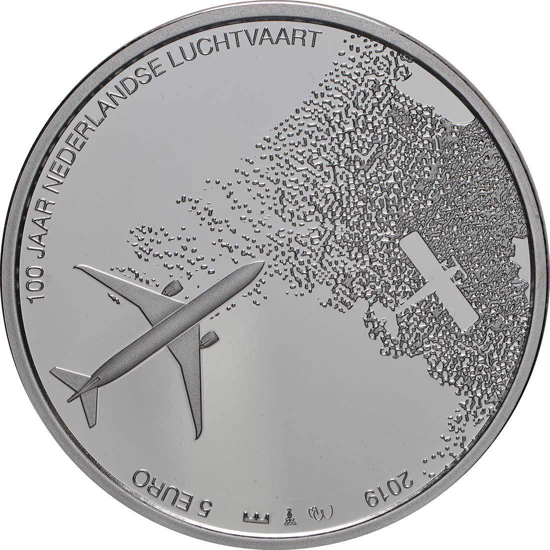 Vorderseite:Niederlande : 5 Euro 100 Jahre Luftfahrt  2019 PP