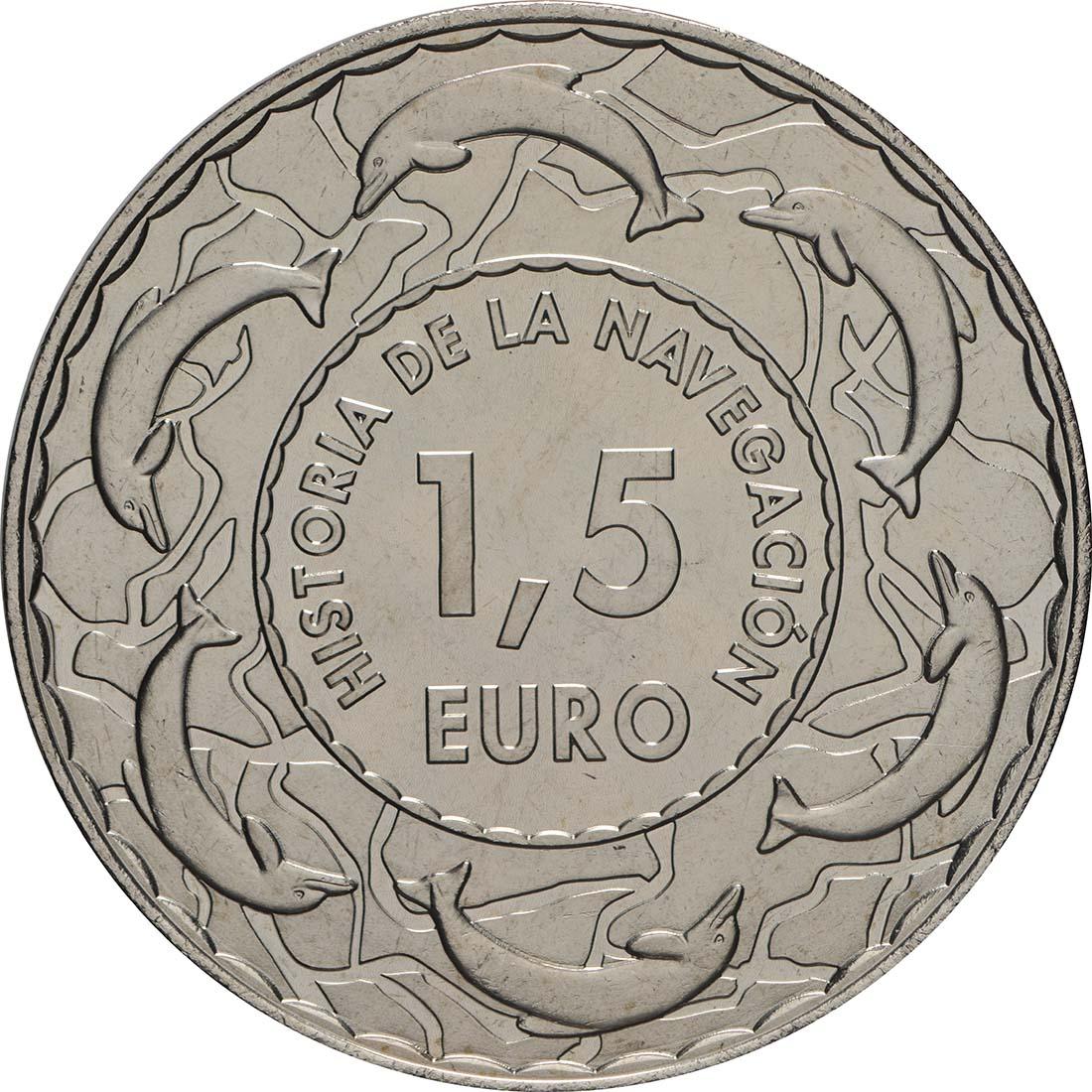 Rückseite:Spanien : 1,5 Euro Griechische Kriegstrireme #5  2019 bfr