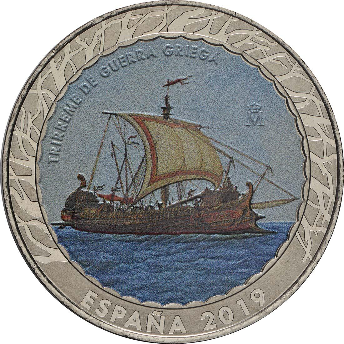 Vorderseite:Spanien : 1,5 Euro Griechische Kriegstrireme #5  2019 bfr