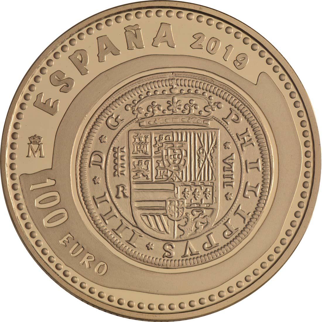 Rückseite:Spanien : 100 Euro Haus Habsburg  2019 PP