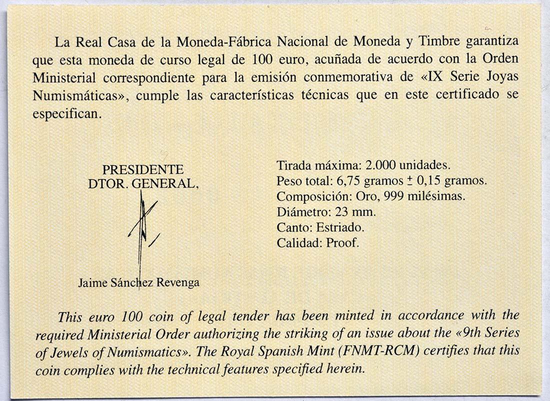 Zertifikat:Spanien : 100 Euro Haus Habsburg  2019 PP