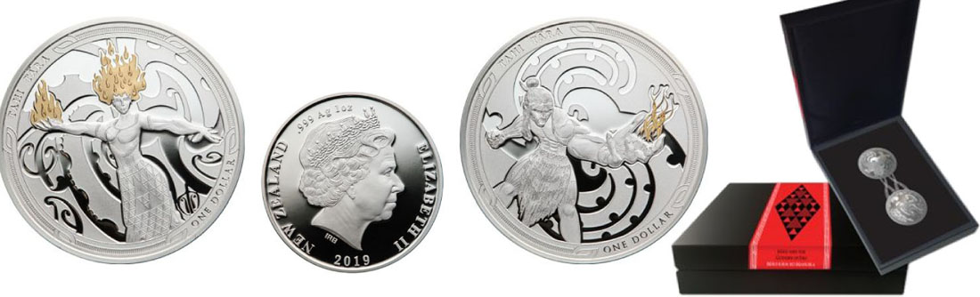 Lieferumfang:Neuseeland : 2 Dollar Maui and the Goddess of Fire - Set 2x 1 oz  2019 PP