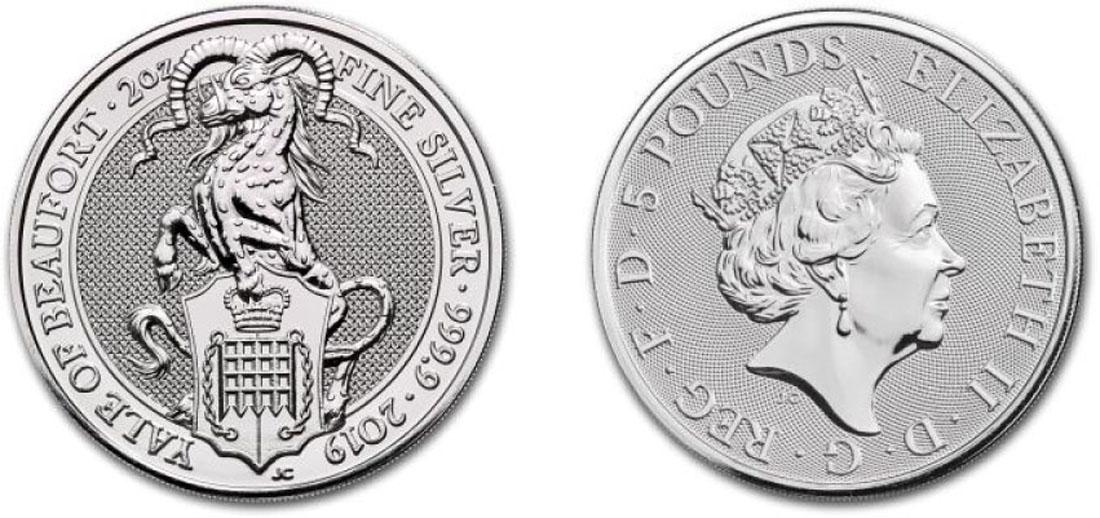 Lieferumfang:Großbritannien : 5 Pfund The Queen´s Beasts - Yale 2 oz  2019 Stgl.