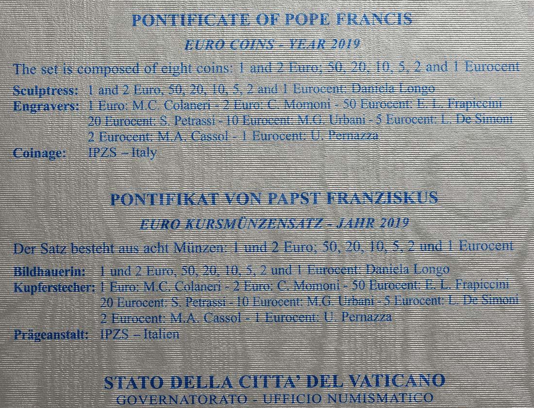 Zertifikat:Vatikan : 3,88 Euro KMS Vatikan  2019 Stgl.