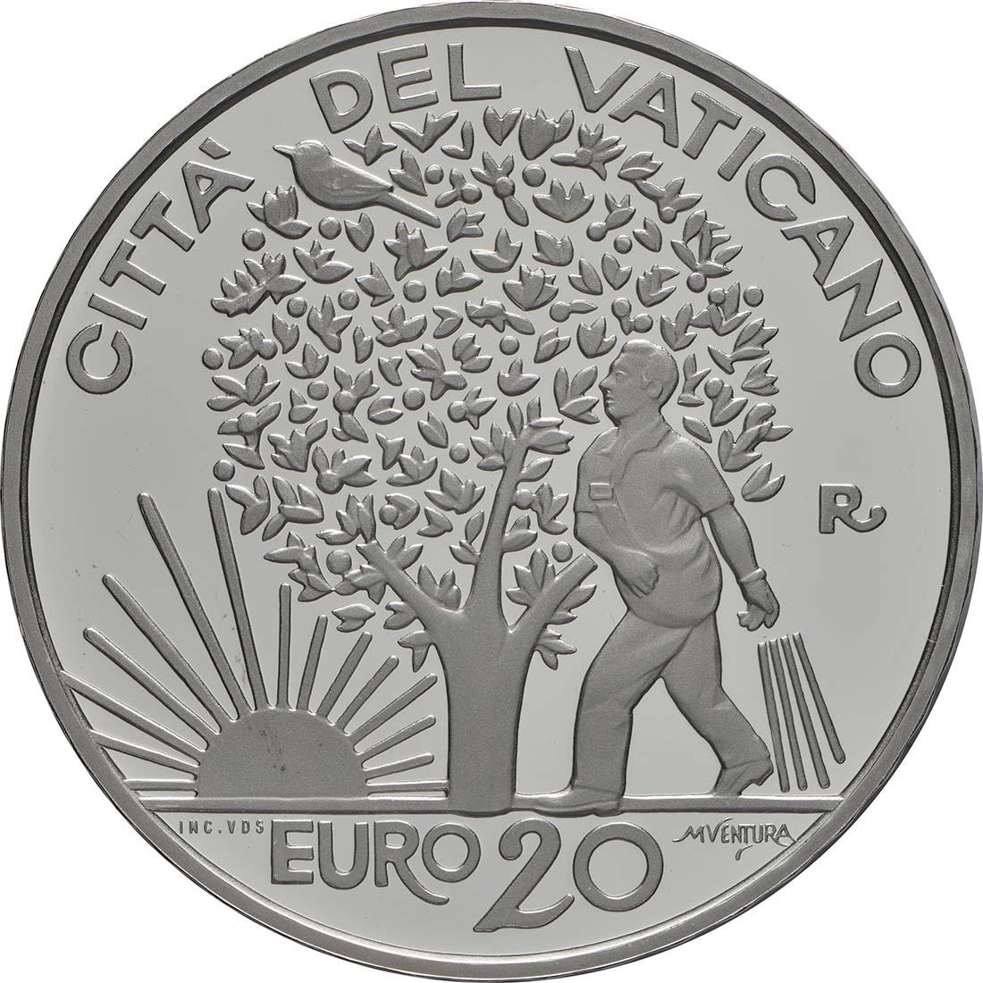 Rückseite:Vatikan : 23,88 Euro KMS Vatikan mit 20 Euro Gedenkmünze  2019 PP