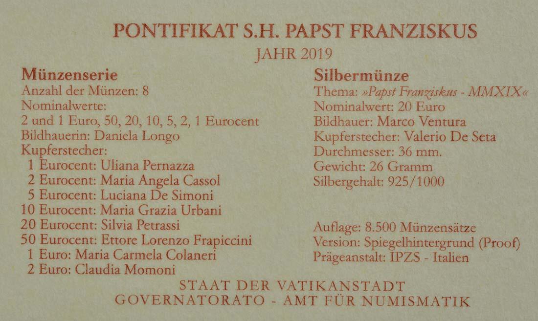 Zertifikat:Vatikan : 23,88 Euro KMS Vatikan mit 20 Euro Gedenkmünze  2019 PP