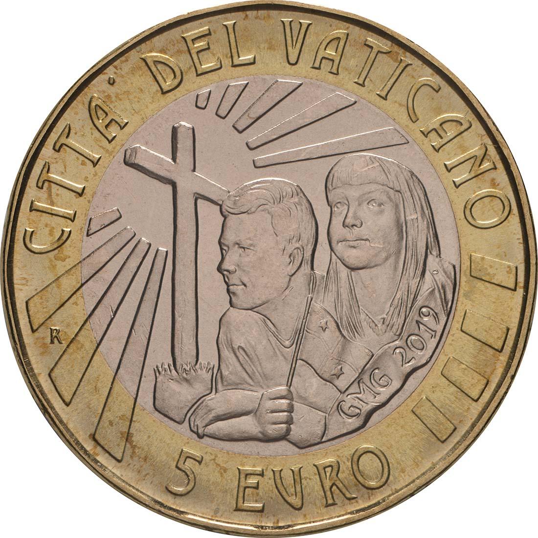 Rückseite:Vatikan : 8,88 Euro KMS Vatikan mit 5 Euro XXXIV. Weltjugendtag Panama  2019 Stgl.