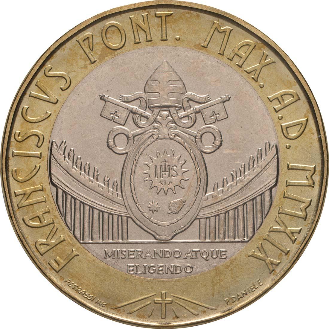 Vorderseite:Vatikan : 8,88 Euro KMS Vatikan mit 5 Euro XXXIV. Weltjugendtag Panama  2019 Stgl.