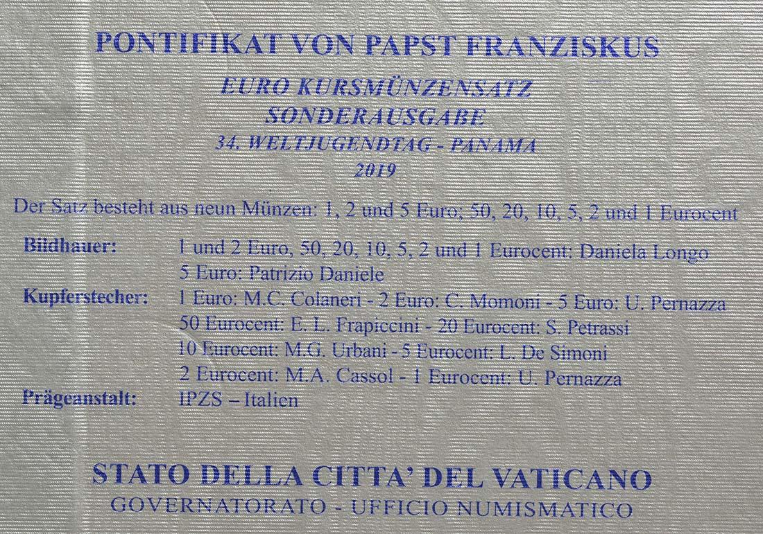 Zertifikat:Vatikan : 8,88 Euro KMS Vatikan mit 5 Euro XXXIV. Weltjugendtag Panama  2019 Stgl.