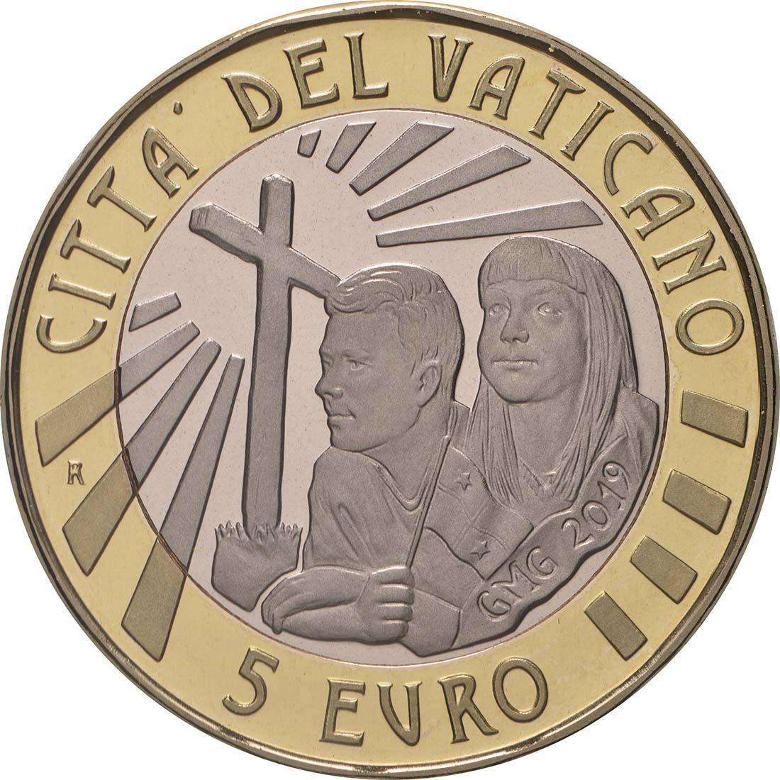 Rückseite:Vatikan : 5 Euro 34. Weltjugendtag Panama  2019 PP