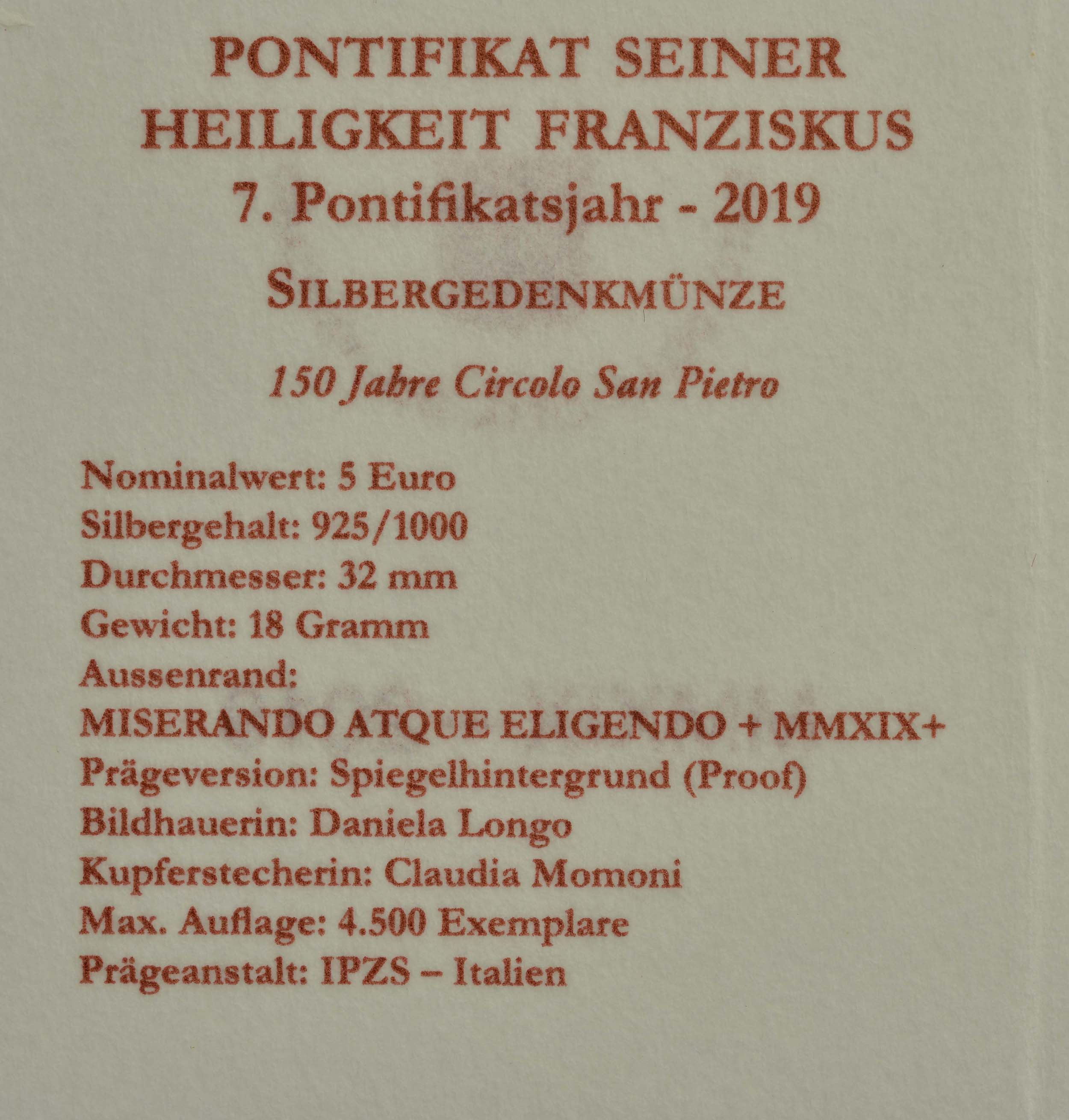 Zertifikat:Vatikan : 5 Euro 150 Jahre Circolo San Pietro  2019 PP