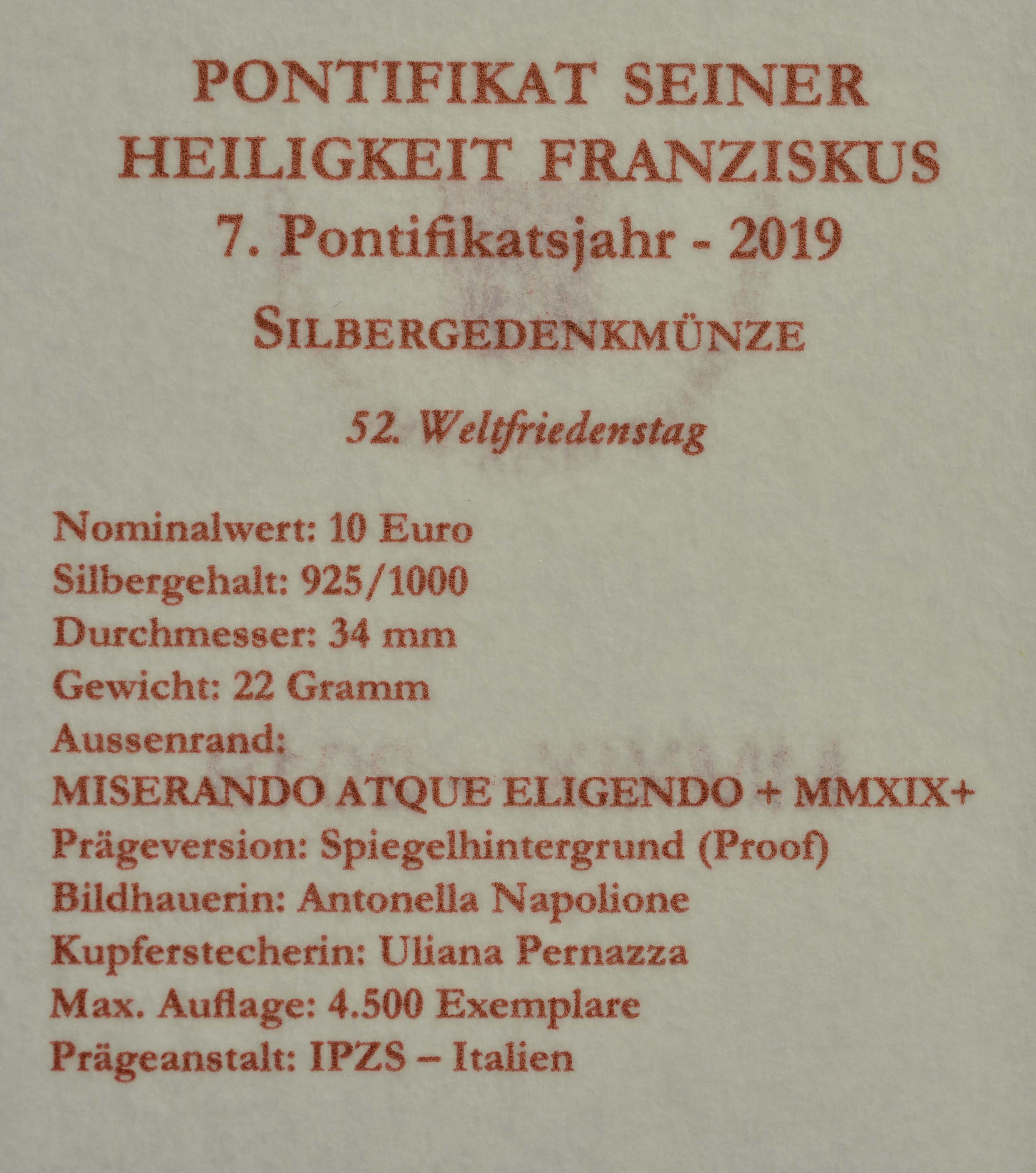 Zertifikat:Vatikan : 10 Euro 52. Weltfriedenstag  2019 PP