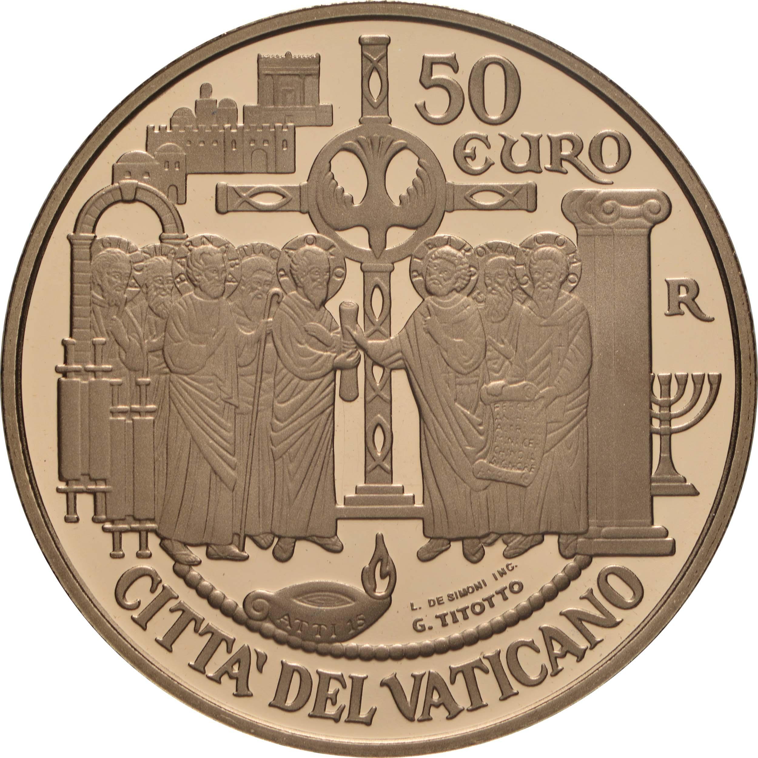 Vorderseite:Vatikan : 50 Euro Apostelgeschichte: die Versammlung von Jerusalem  2019 PP
