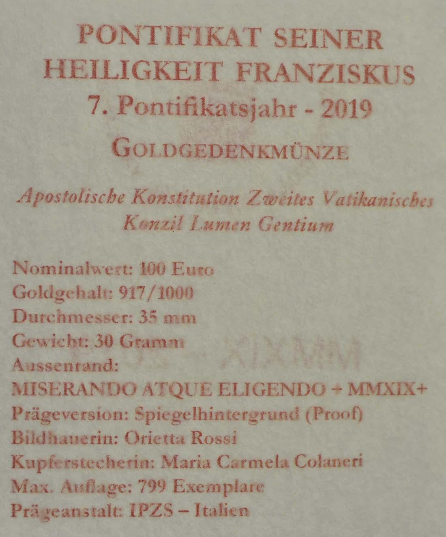 Zertifikat:Vatikan : 100 Euro postolische Konstitution Zweites Vatikanisches Konzil: Lumen Gentium  2019 PP