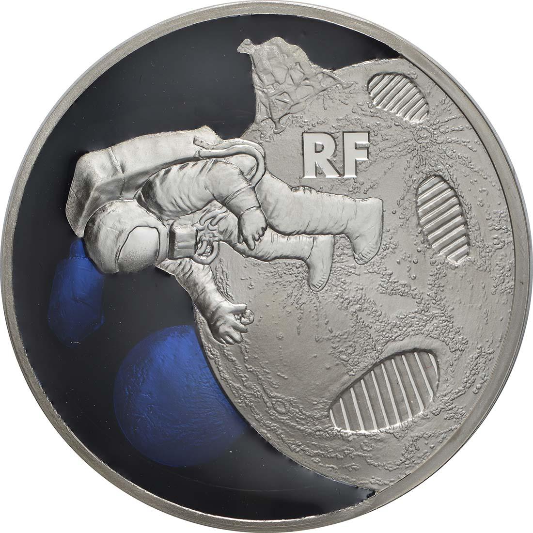 Vorderseite:Frankreich : 10 Euro Mondlandung mit Resin Einlage  2019 PP