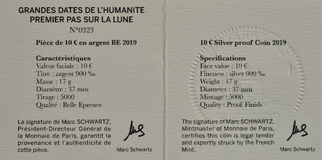 Zertifikat:Frankreich : 10 Euro Mondlandung mit Resin Einlage  2019 PP