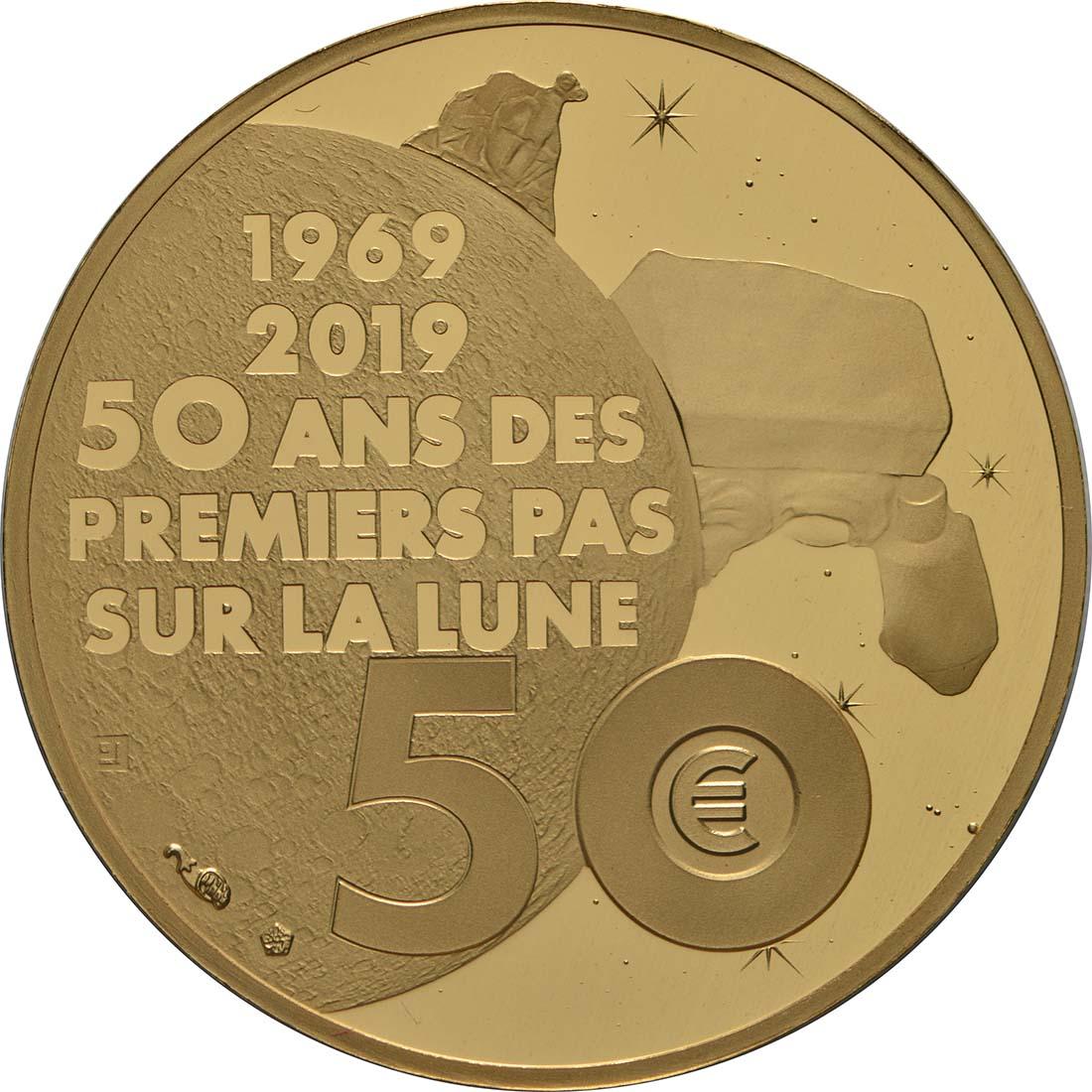 Rückseite:Frankreich : 50 Euro Mondlandung  2019 PP
