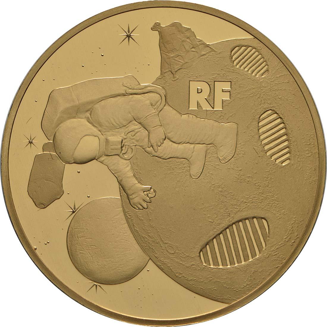 Vorderseite:Frankreich : 50 Euro Mondlandung  2019 PP