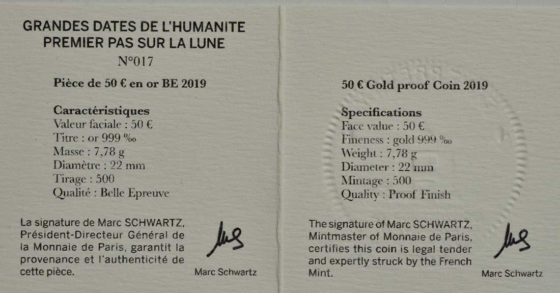 Zertifikat:Frankreich : 50 Euro Mondlandung  2019 PP