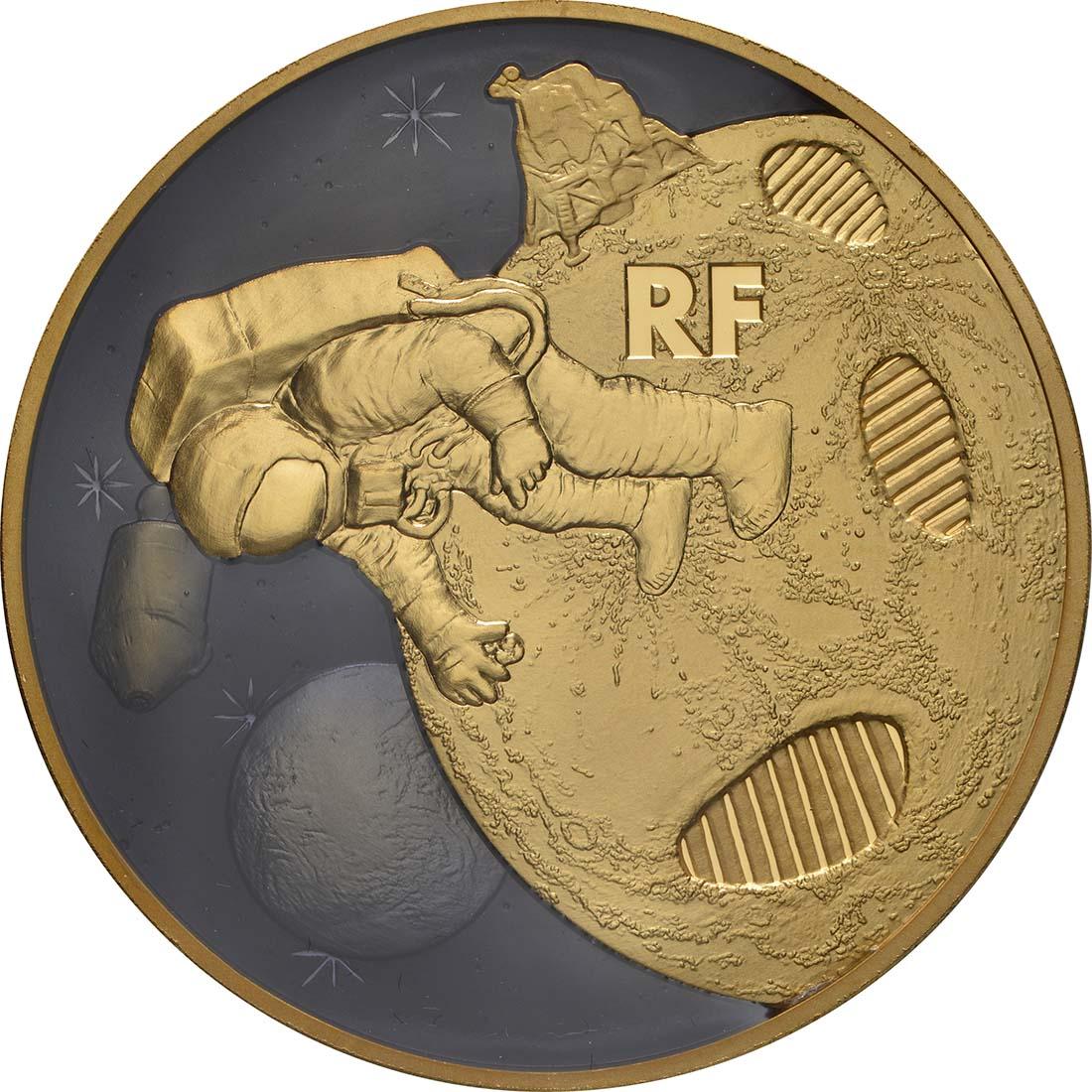 Vorderseite:Frankreich : 200 Euro Mondlandung mit Resin Einlage  2019 PP