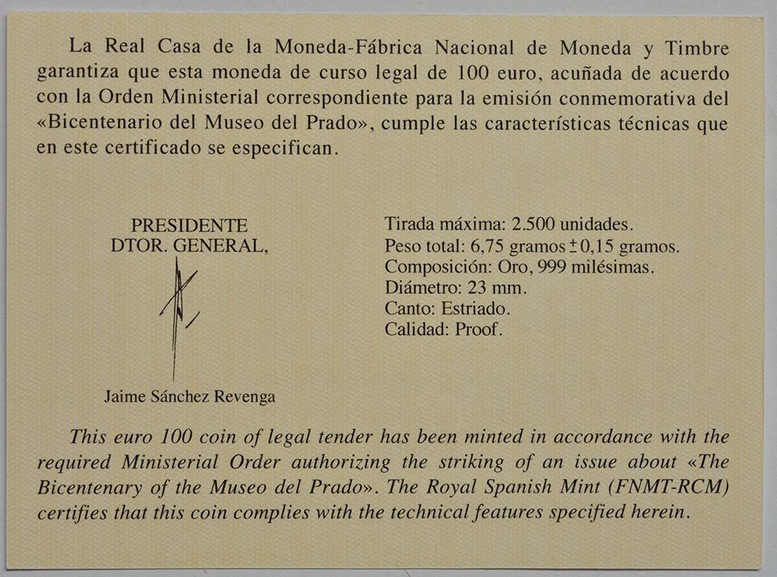 Zertifikat:Spanien : 100 Euro Meleandros Jagd  2019 PP