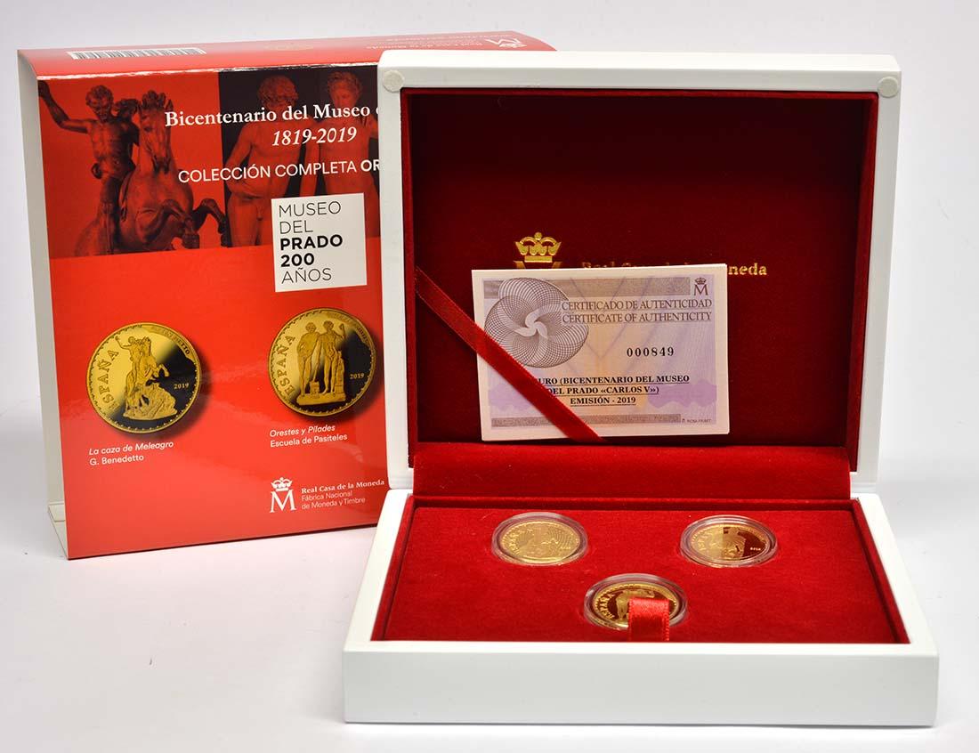 Lieferumfang:Spanien : 300 Euro 3x100 Euro Orestes und Pylade, Meleandros Jagd, Karl V.  2019 PP