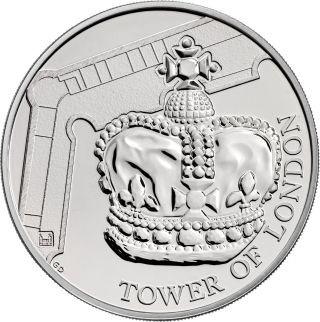 Vorderseite:Großbritannien : 5 Pfund Tower v. London - Die Kronjuwelen - Blister  2019 Stgl.