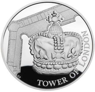 Vorderseite:Großbritannien : 5 Pfund Tower v. London - Die Kronjuwelen  2019 PP